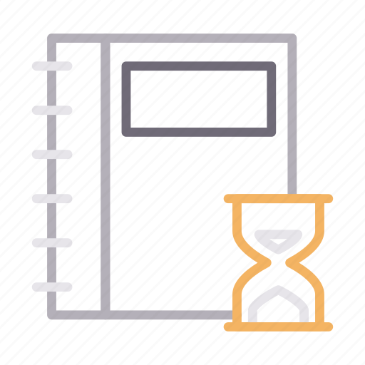 deadline, diary, hourglass, notebook, stopwatch icon