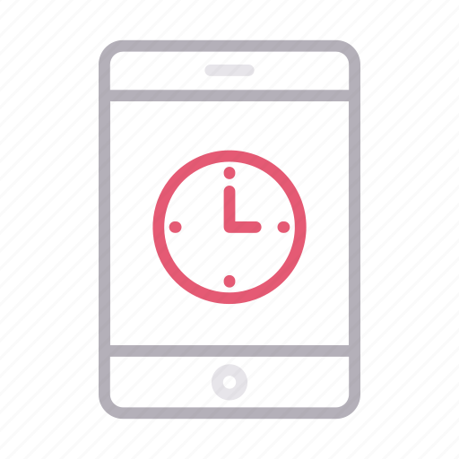 cell, deadline, mobile, phone, stopwatch icon