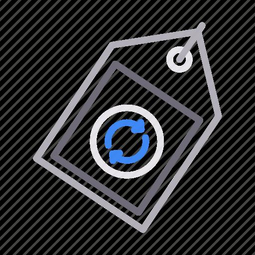 label, refresh, reload, sticker, tag icon