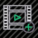 add, filmstrip, play, plus, video icon
