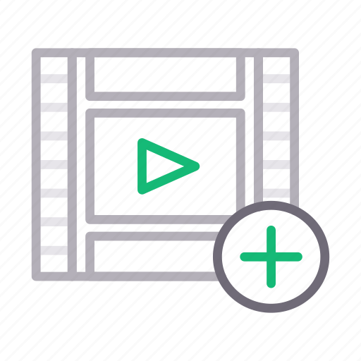 add, filmstrip, play, plus, video icon