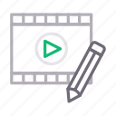create, edit, filmstrip, media, video icon