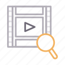 filmstrip, glass, magnifier, search, video icon