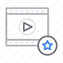 favorite, filmstrip, play, starred, video icon