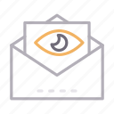 email, inbox, message, seen, view icon
