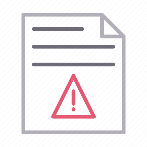 document, exclamation, file, sheet, warning icon