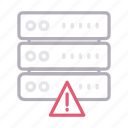 database, error, server, storage, warning