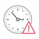 clock, error, time, warning, watch icon