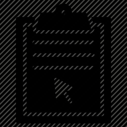 arrow, clipboard, cursor, document, project icon