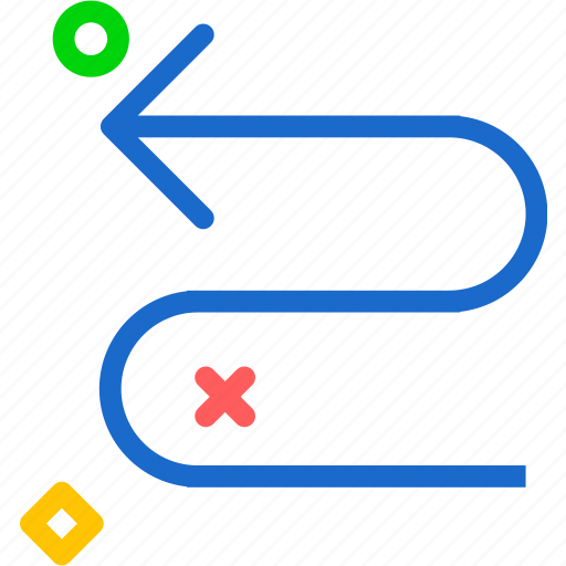 arrow, direction, snake, wayleft icon