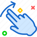 arrow, hand, interaction, touchleft, twofinger, up icon