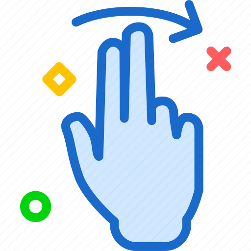 forward, hand, interaction, play, right, touchright, twofinger icon