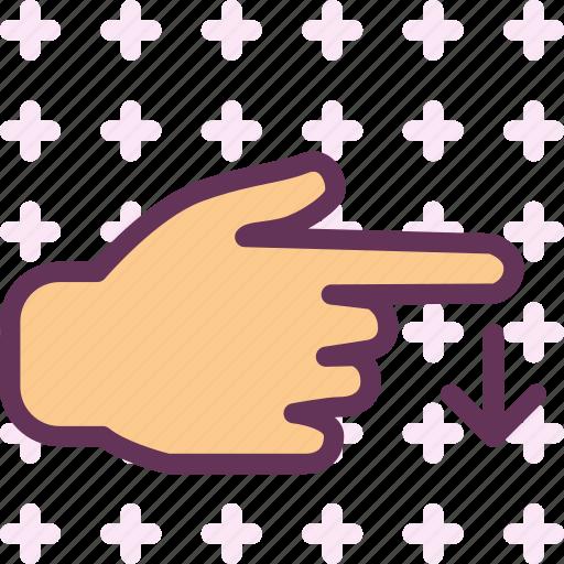 arrow, direction, down, gesture, hand, swipe icon