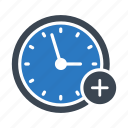 add, clock, deadline, time, watch icon