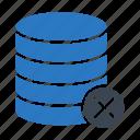 cancel, database, delete, server, storage icon