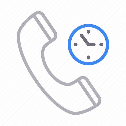call, duration, phone, receiver, time icon