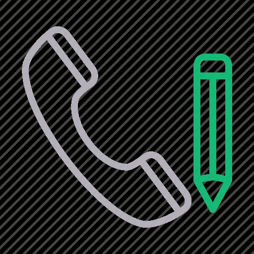 call, edit, phone, receiver, write icon