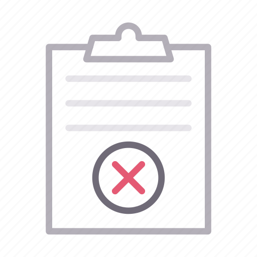 cancel, clipboard, delete, document, project icon