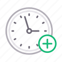 add, clock, deadline, time, watch icon