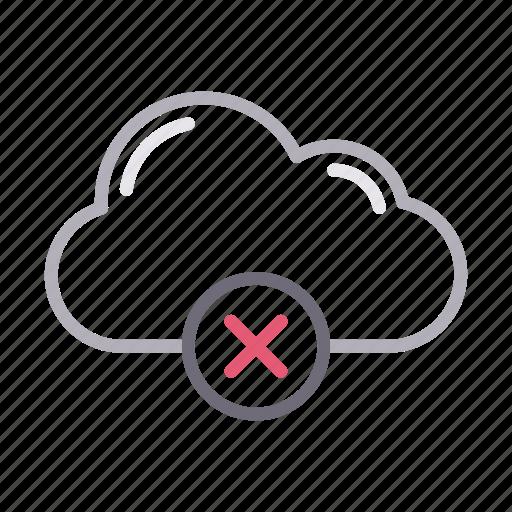 cancel, cloud, database, delete, server icon