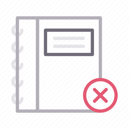 cancel, contactbook, delete, diary, notebook icon