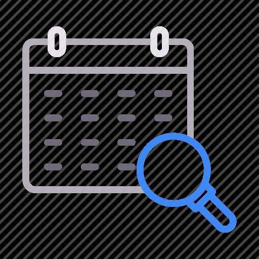calendar, date, deadline, month, search icon