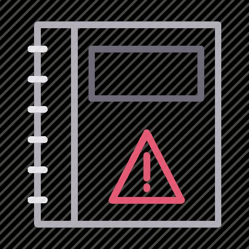 diary, error, notebook, stationary, warning icon