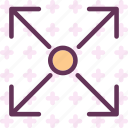 enlarge, fullscreen, increase, top icon