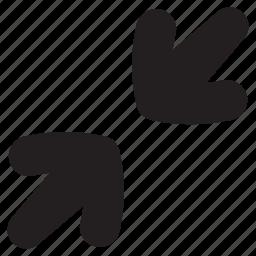 arrow, arrows, minimize, minus, reduce, screen icon