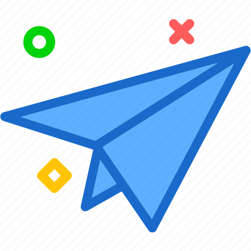 figurine, mailairplane, paper, send icon