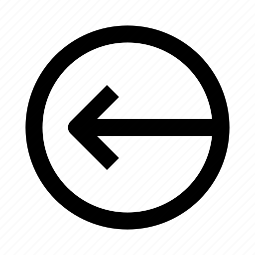 arrow, circle, left, plate, sign icon