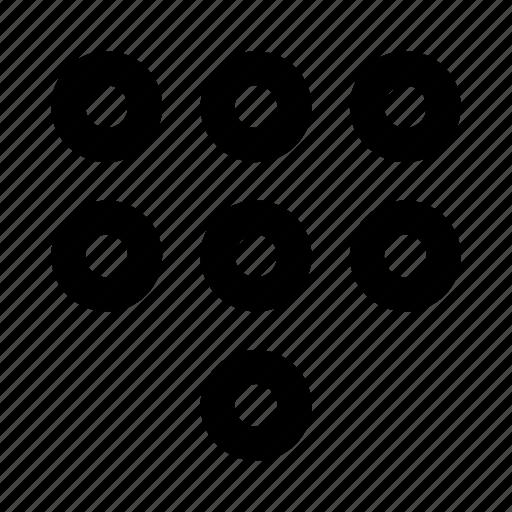 circle, dots, menu, numbers, pass icon