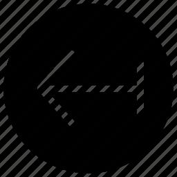 arrow, back, circle, creative, data, exchange, grid, information, interface, last, left, previous, receive, rewind, send, shape icon