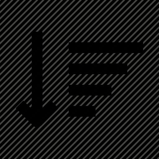 arrow, down, list, sort, top icon