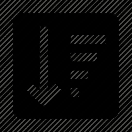 arrow, down, list, sort, sorting, top icon