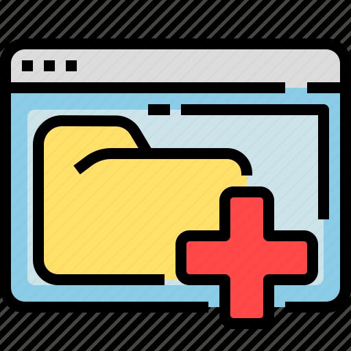 add, browser, folder, increase, plus, window icon