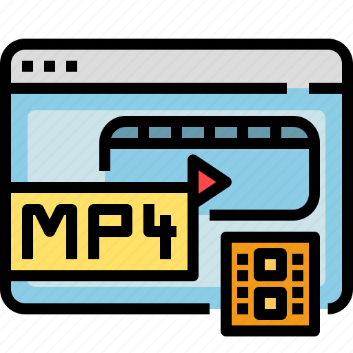 browser, interface, media, movie, mp4, video icon