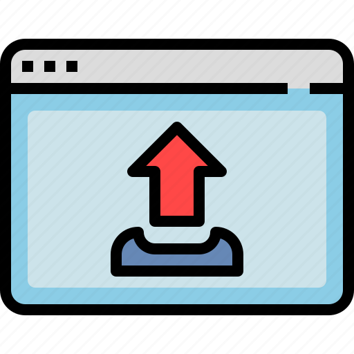 browser, file, interface, upload, window icon