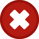 cancel, circle, close, delete, dismiss, exit, red, remove icon