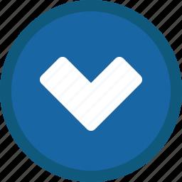 blue, chevron, circle, down, next icon