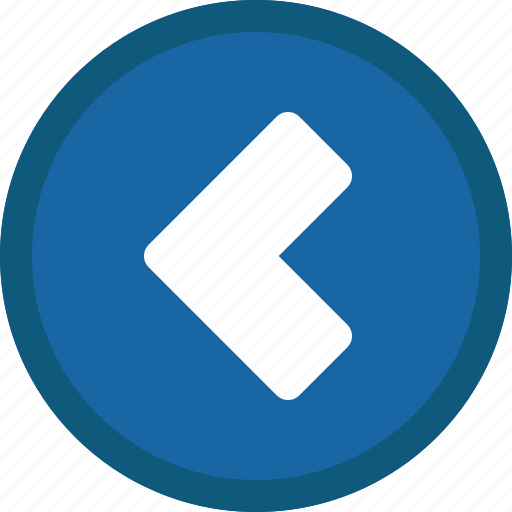 back, blue, chevron, circle, left, previous icon