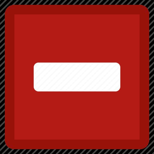 close, delete, minus, red, remove, square icon
