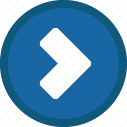 blue, chevron, circle, forward, next, right icon