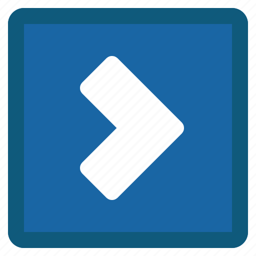blue, chevron, forward, next, right, square icon