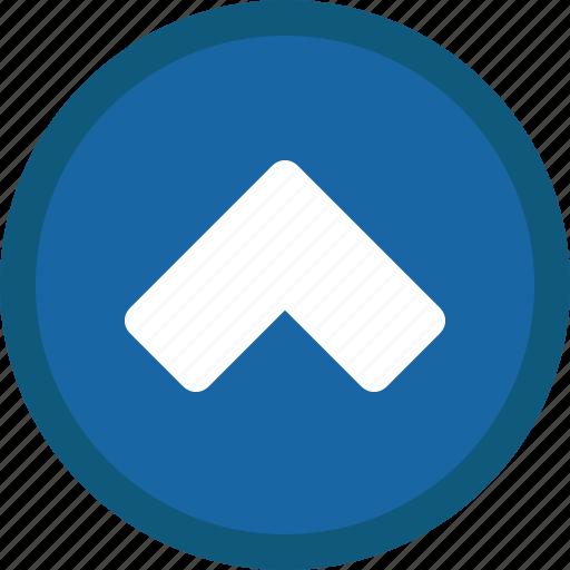 blue, chevron, circle, previous, up icon
