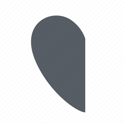 half, heart, interface icon