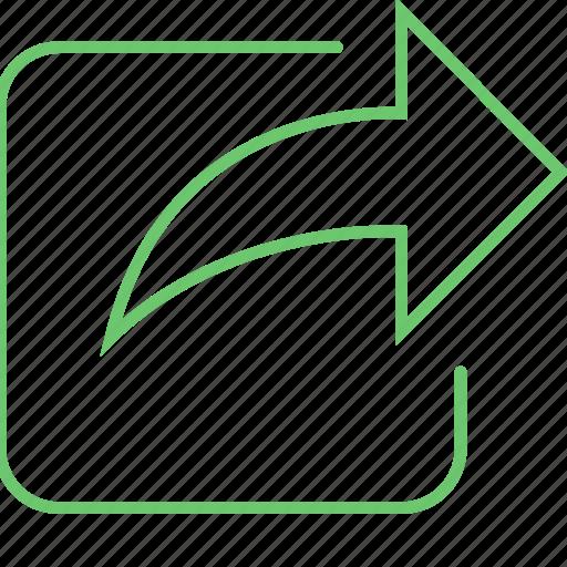 arrow, flip, move, return, share icon