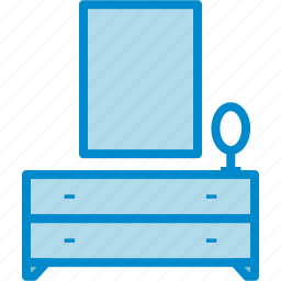 bedroom, dresser, mirror icon