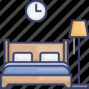 bed, bedroom, clock, furnishing, furniture, lamp, lighting icon