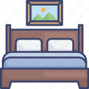 bed, bedroom, frame, furnishing, furniture, picture, sleep icon